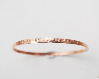 solid hammered bangle custom rose gold sterling silver coordinates bracelet