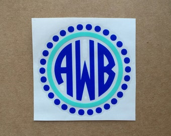 Monogram Decal | Polka Dot Decal | Circle Monogram | Two Color Decal | Laptop Decal | Car Decal | Personalized Decal | Monogram Sticker
