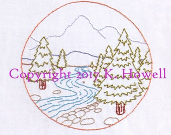 Forest Scene Hand Embroidery Pattern, View, Scenic, Adventure, Camping, Woods, Trees, River, Mountains, Nature, Travel, Stream, Rocks, PDF