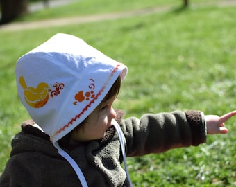 Baby sun hat for bird lovers, summer hat, baby bonnet, sun bonnet, 6-12 month ready to ship, newborn to toddler sizes made to order