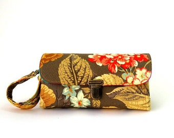 Smartphone wallet clutch - medium / women wallet, gear for iPhone wristlet cool wallets floral clutch beige phone case unique  READY TO SHIP