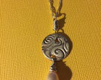 Fine Silver Pearl Drop