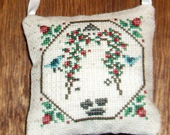 Rose Arbor cross stitch pocket pillow