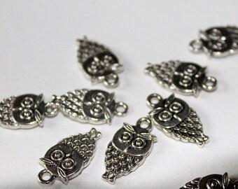 x 1 charm - OWL OWL night bird - metal silver