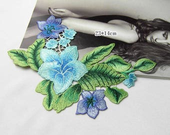 Green Floral Appliques, Embroidered Patches