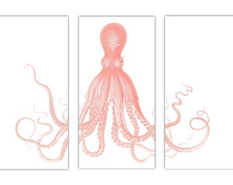 Octopus Triptych, Octopus Print In Coral And White, Extra Large Wall Art,  Nautical