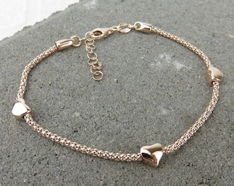 Silver Tiny Heart Bracelet - Plated in Rose Gold or Yellow Gold