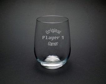 Original Gamer Player 1 Glass - Gamer Gear - Video Game Glass - Vintage Player One Glass