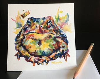 Toad Frameable Fine Art Card. Frog prince.