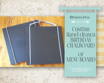 Custom Hand Lettered Chalkboard- Hand-drawn Kitchen Menu- Graduation- Birthday- Baby Shower- Wedding Menu- Over the Hill- Retirement