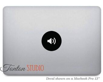 Speaker Icon Macbook Sticker / Music Volume Macbook Decal / Dot Round Circle Icon - Apple Laptop Notebook Macbook Air Pro - Removable - T007