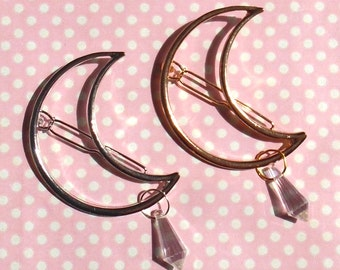 4 crystal choices! Crescent moon crystal drop hair clip in gold or silver