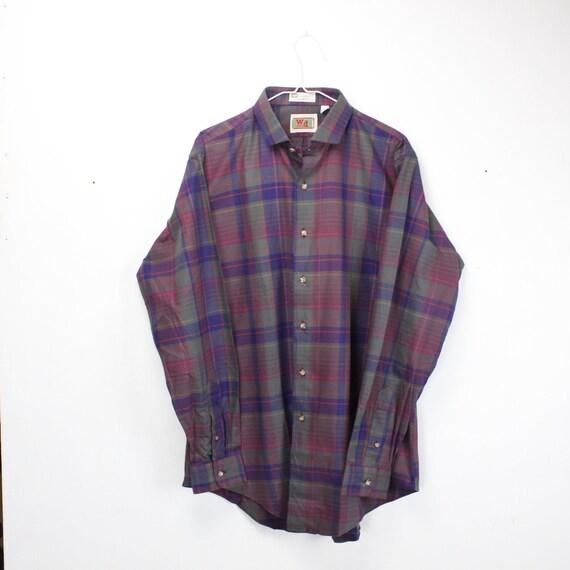 Vintage Men's Shirt - W&D co. Boston - Purple - Yellow - Gray - Plaid - 100% Cotton - XL - 17 - 1980's