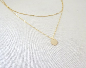 Gold Layered Necklace, Satallite chain necklace, Gold Coin Necklace, Dainty Bridesmaid Necklace, Disc necklace