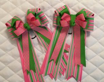 Preppy pink and Green hair bows
