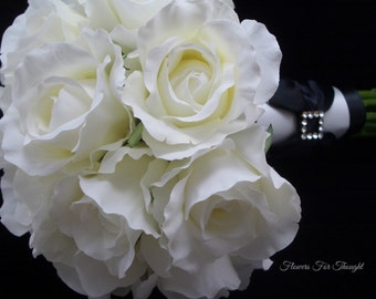 White Roses Bridal Bouquet, Silk Flowers, Black and White Wedding, Rhinestones, Tuxedo style, FFT design, Made to order