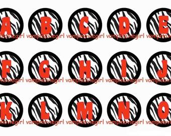 INSTANT DOWNLOAD...Bright Orange Zebra Alphabet 1 Inch Circle Image Collage for Bottle Caps...Buy 3 get 1