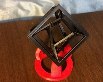 3D Printed Distorted 4-Dimensional Tesseract Hypercube Model
