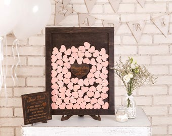 3d Wedding guestbook Alternative Drop box Wedding guest book Custom Drop Top Guest Book Wedding Wishes Box Guestbook Frame Wood Hearts Blush