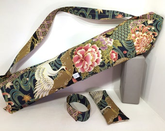 Deluxe Yoga Mat Tote with pocket, mat strap & FREE eye pillow, Cranes, yoga mat bag, yoga accessories, yoga gifts, yoga lovers gifts