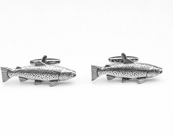 Trout Cufflinks, Trout Cuff Links, Fishing Cuff Links, Men's Cuff Links, Wedding Cuff Links, Father's Day, Graduation Gift