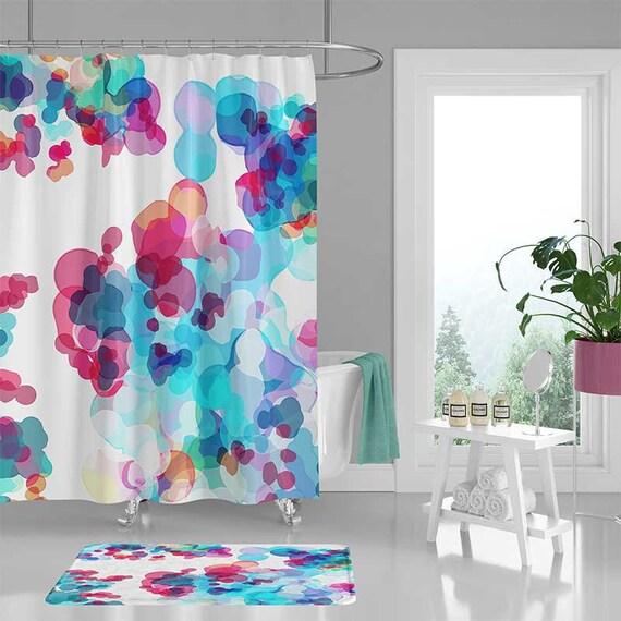 Watercolor Shower Curtain Bathroom Rug Bath Mat Blue Pink Purple Colorful Decor Housewarming Gift