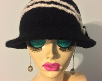 Vintage Inspired Crocheted Felted Cloche Flapper Hat 'Molly'
