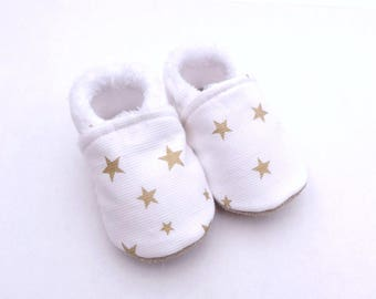 Top cotton, non-slip leather sole baby shoes white with gold stars