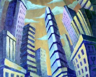 Boxes - Pop Surrealism Fine Art Oil painting 23,5x31,5 inch