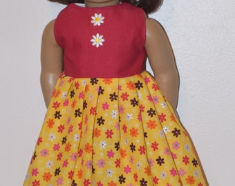 Yellow & red flowerd long dress with lace - clothes fit American Girl doll