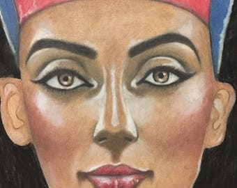 Nefertiti pastel pencil drawing
