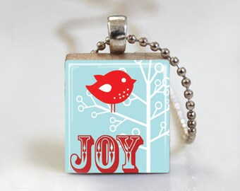 Noel Christmas Joy - Scrabble Pendant Necklace with Ball Chain Necklace or Key Ring