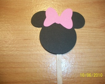 Minnie Mouse cupcake toppers- set of 48- pink bow