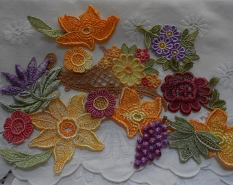 12 Hand Painted Venice Lace Appliques for Crazy Quilting Fall Colors