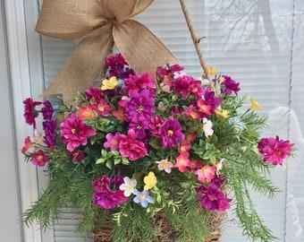 Spring Front Door Hanger, Spring Door Hanger, Spring flowers, Spring basket hanger, spring Hanging basket, Floral Basket for front door