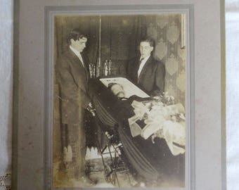 Large Antique Post Mortem Photograph - Funeral Portrait - Vintage Mounted Death Image - Coffin Mourners