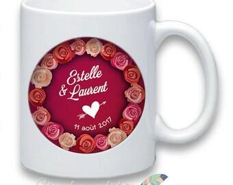 Mug wedding customize names date message #1