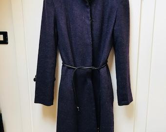 TERZOATTO - Purple wool long coat - S/M