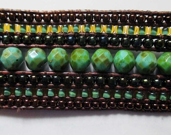 Sassy natural green fire polished czech 7 row bracelet