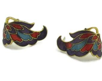Purple Cloisonne Lavender  Enamel Gold Tone Earring Post Vintage Estate Jewelry Gift Idea Enamel Designer Signed 1980s