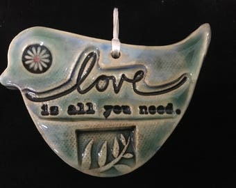 """Bird Wall Decoration, Bird Ornament, With """"All you Need is Love"""" Saying, House Warming Gift."""