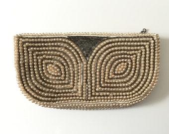 1930s beaded purse, Art Deco purse, vintage beaded clutch, beaded evening purse, faux pearl beaded wedding clutch purse, beaded coin purse