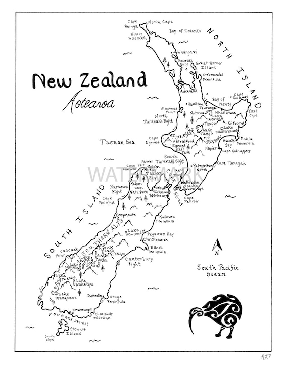 Line Drawing New Zealand Map : New zealand hand drawn map