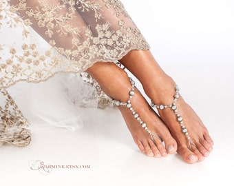 Beaded barefoot sandals, Bridal foot jewelry, Beach wedding Barefoot Sandals, Bridal accessory, Wedding Shoes, Maid of honor gift, Anklet