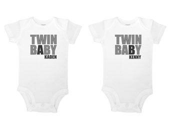 Personalize Both Names - Twin Baby A Twin Baby B - Baby One Piece Bodysuits or Toddler T-shirts - Set of Two!