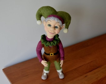 OOAK NEEDLE FELTED Doll / Reagan - A Needle Felted Woodland Jester / One of a Kind Needle Felted Art Doll, Elf, Jester, Joker
