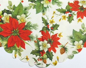 Round decoupage paper Christmas and New Year Decoupage paper napkins Red Poinsettia mistletoe