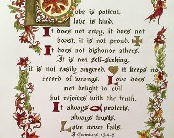 Valentines,The Love Chapter,Calligraphy, Print of Original, Victorian, I Corinthians 13, Earth Tones, Wedding, Anniversary, Bible/paper only