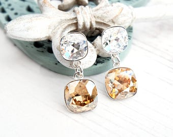 Champagne Swarovski crystal earrings Wedding bridesmaid earrings Sterling Silver stud earrings Square gold cushion cut crystal earrings 1