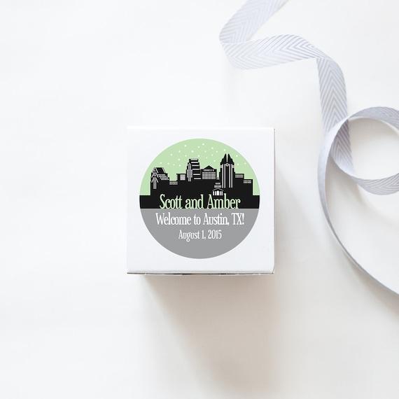 Austin tx custom wedding welcome stickers skyline design